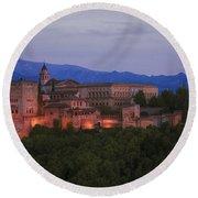 Alhambra Granada Dusk Round Beach Towel