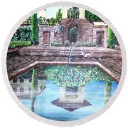 Alhambra Spain Reflections Round Beach Towel