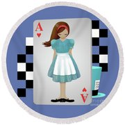 Alice 3d Flying Cards Round Beach Towel