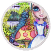 Alice And Absolem Round Beach Towel