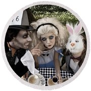 Alice And Friends 2 Round Beach Towel
