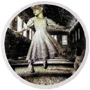 Alice And The Rabbit Round Beach Towel by Bob Orsillo