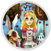 Alice And The Rabbit Having Tea... Round Beach Towel