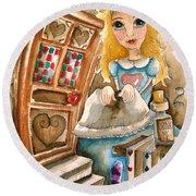 Alice In Wonderland 2 Round Beach Towel by Lucia Stewart