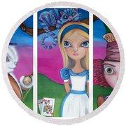 Alice In Wonderland Inspired Triptych Round Beach Towel