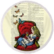 Alice In Wonderland Playing With Cute Cat And Butterflies Round Beach Towel