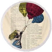 Alice In Wonderland With Big Colorful Balloons Round Beach Towel