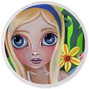 Alice Meets The Caterpillar Round Beach Towel