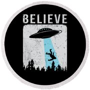 Alien Believe Funny Ufo Gift Round Beach Towel
