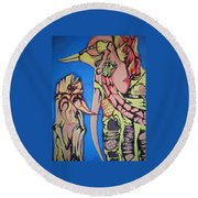 Alien Birds Round Beach Towel