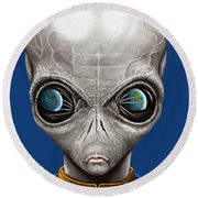 Alien From Space Round Beach Towel