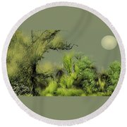 Alien Garden 2 Round Beach Towel
