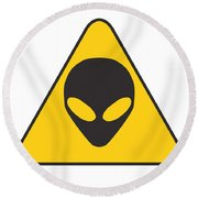 Alien Grey Graphic Round Beach Towel