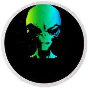 Alien Grey Head Blue Green Round Beach Towel