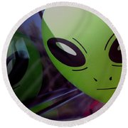 Alien Is Closer Than He Appears Round Beach Towel