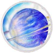 Alien Planet. Blue Light Of Hope Round Beach Towel