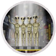 Alien Vacation - Beamed Up From Time Square Round Beach Towel