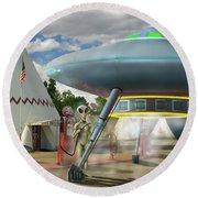 Alien Vacation - Gasoline Stop Round Beach Towel