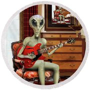 Alien Vacation - We Roll With Jazz Round Beach Towel