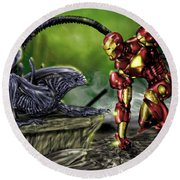 Alien Vs Iron Man Round Beach Towel by Pete Tapang