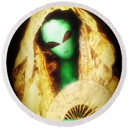 Alien Wearing Lace Mantilla Round Beach Towel