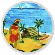 Alihi Hawaiian For Chief #57 Round Beach Towel