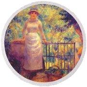 Aline At The Gate Girl In The Garden 1884 Round Beach Towel