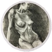 Alison Charcoal On Paper From Observation  Round Beach Towel