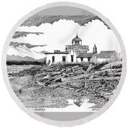 Alki Point Lighthouse Seattle Round Beach Towel