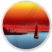 Alki Sail 3 Round Beach Towel