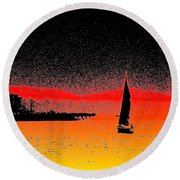 Alki Sail  Round Beach Towel