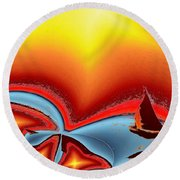 Alki Sail Under The Sun 2 Round Beach Towel