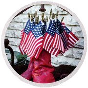 All American Flag And Red Boots - Painterly Round Beach Towel