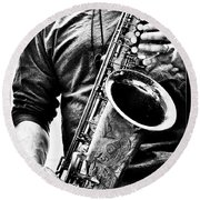 All Blues Man With Jazz On The Side Round Beach Towel by Bob Orsillo