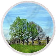All Fenced In Along The Blue Ridge Parkway Round Beach Towel