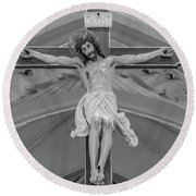 All For You Grayscale Round Beach Towel