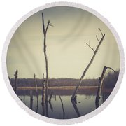 All Is Calm At Green Bottom Round Beach Towel