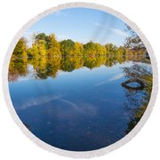 All Is Quiet On The River Round Beach Towel