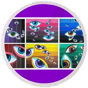 All Pictures With Eyes Round Beach Towel