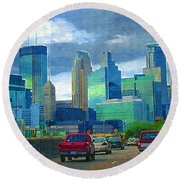 All Roads Lead To Minneapolis Round Beach Towel