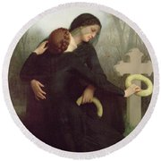 All Saints Day Round Beach Towel by William Adolphe Bouguereau