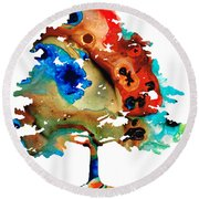 All Seasons Tree 3 - Colorful Landscape Print Round Beach Towel