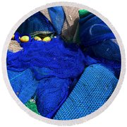 All The Blue Of The Sea Round Beach Towel
