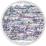 All The Presidents Signatures Blue Rose Round Beach Towel
