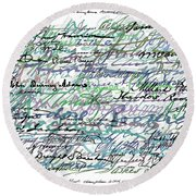 All The Presidents Signatures Teal Blue Round Beach Towel