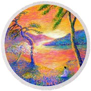 Buddha Meditation, All Things Bright And Beautiful Round Beach Towel