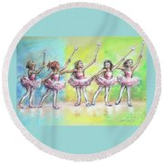All Together Now...first Ballet Recital Round Beach Towel by Laurie Shanholtzer