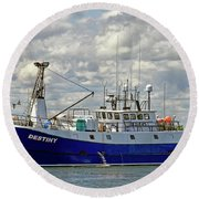 Cloudy Day On The Marina Round Beach Towel