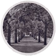 Allee Way Bw Round Beach Towel