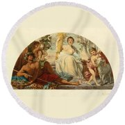 Allegory Of Agriculture Round Beach Towel